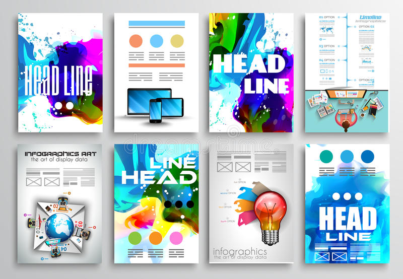 Set ulotka projekt, Infographics broszurki projekty ilustracji