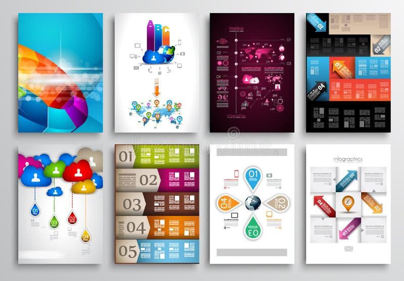 Set ulotka projekt, sieć szablony Broszurka projekty royalty ilustracja