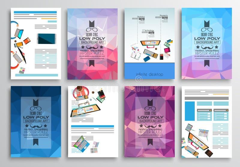 Set ulotka projekt, sieć szablony Broszurka projekty, technologii tła royalty ilustracja