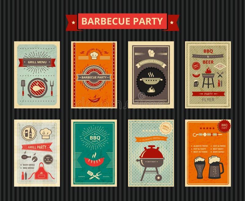 Set ulotki dla grilla przyjęcia ilustracji