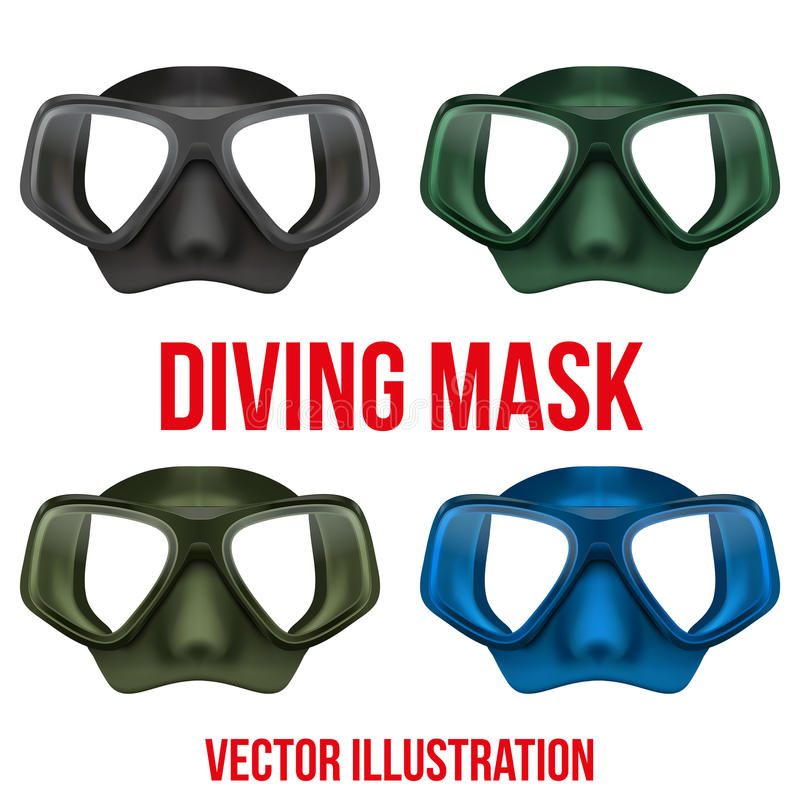 Set of Underwater diving scuba mask. Vector royalty free illustration