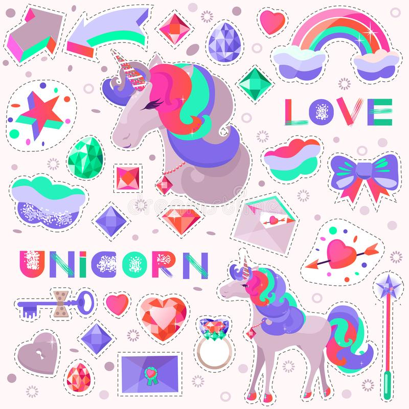 Set with a unicorn and pictures for stickers. Unicorn`s head with closed eyes vector illustration