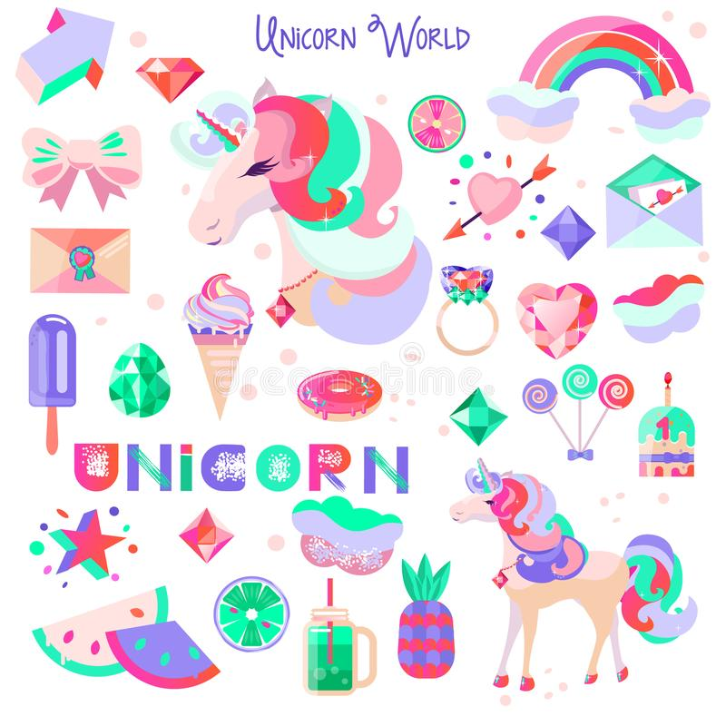 Set with a unicorn and pictures for stickers. Unicorn`s head with closed eyes. Diamonds and crystals. Rainbow, cloud and heart. A vector illustration