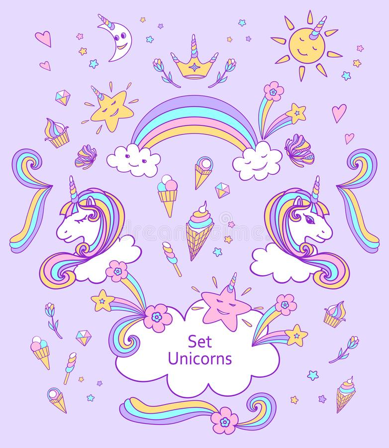 Set Unicorns and cute elements in doodle cartoon style vector illustration