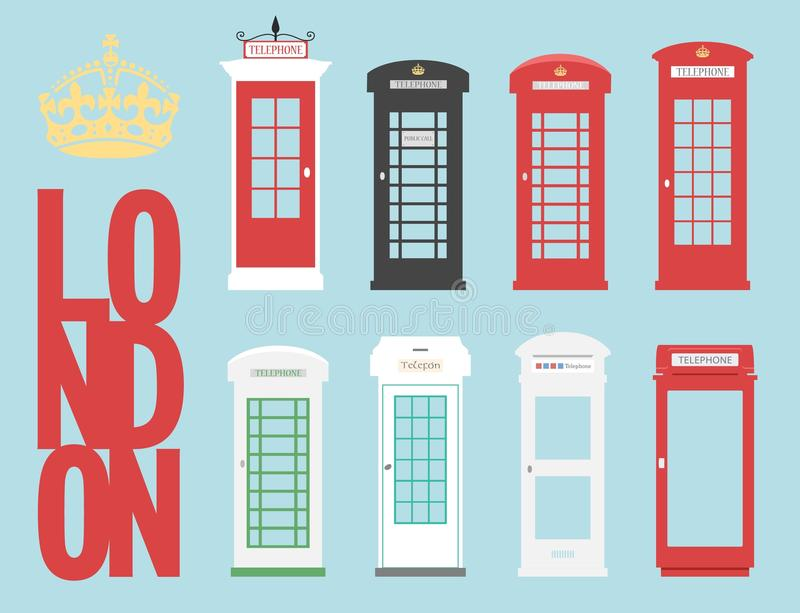 Set United Kingdom Telephones Box London public call vector word concept. United Kingdom Telephone Box London public call vector London word royalty free illustration