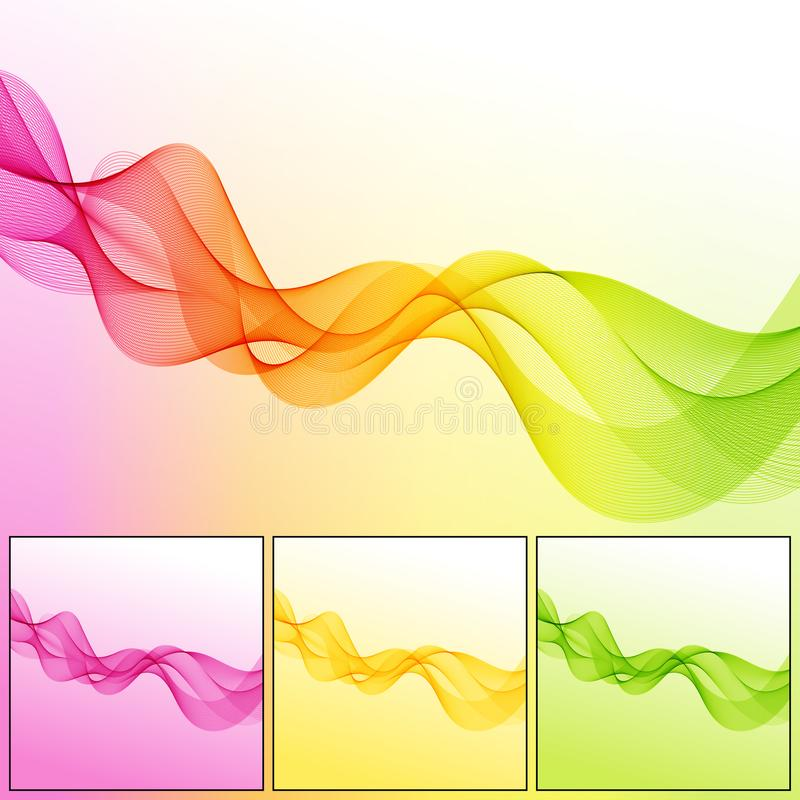 Set of Universal Abstract Backgrounds with Wave Lines. royalty free illustration