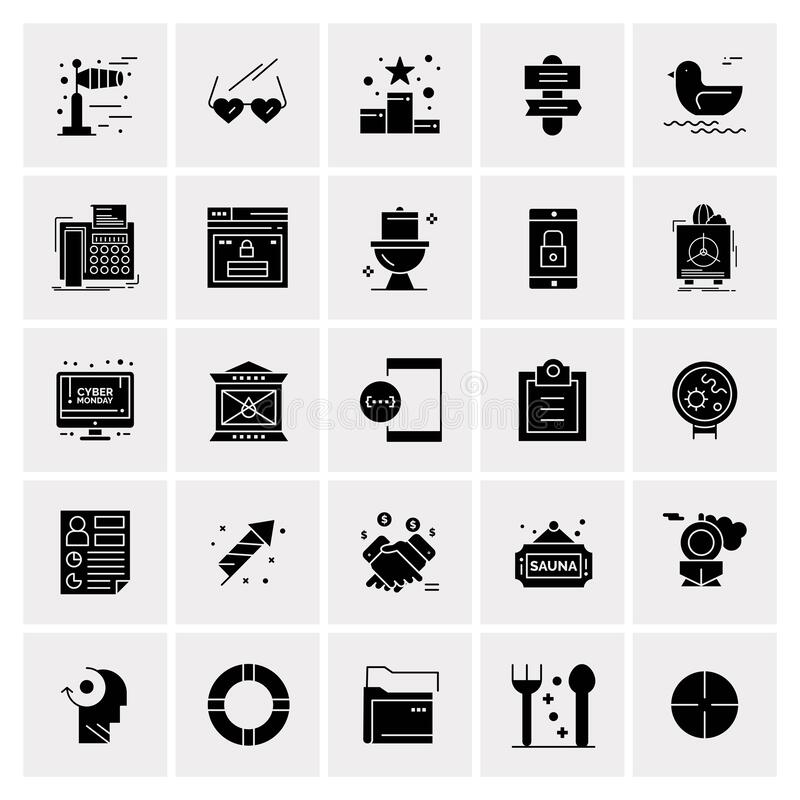 Set of 25 Universal Business Icons Vector. 25 Universal Business Icons Vector. Creative Icon Illustration to use in web and Mobile Related project royalty free illustration