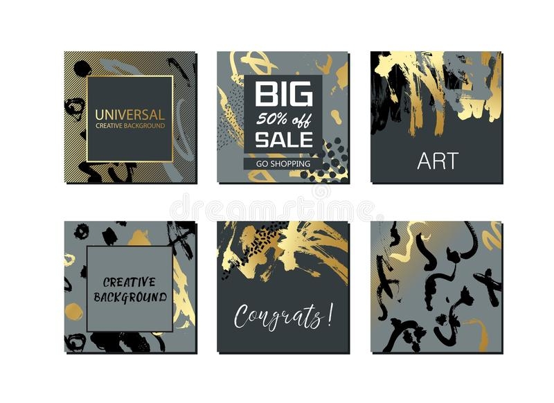 Set of universal cards and background with hand drawn textures. For banner, poster, invitation, brochure, flyer. royalty free illustration