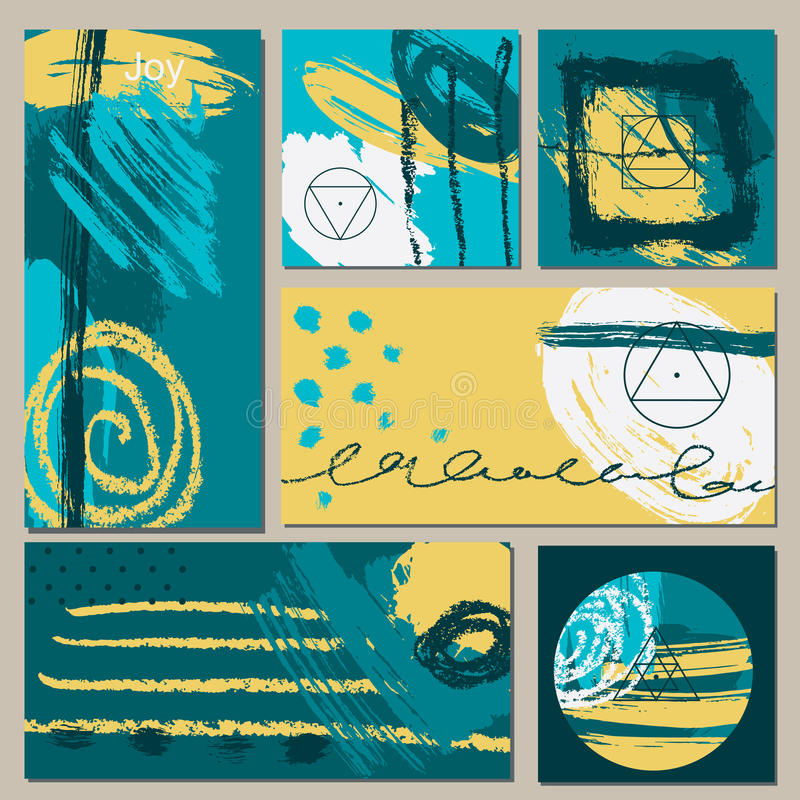 Set of universal cards. Hand Drawn textures. Vector. . stock illustration