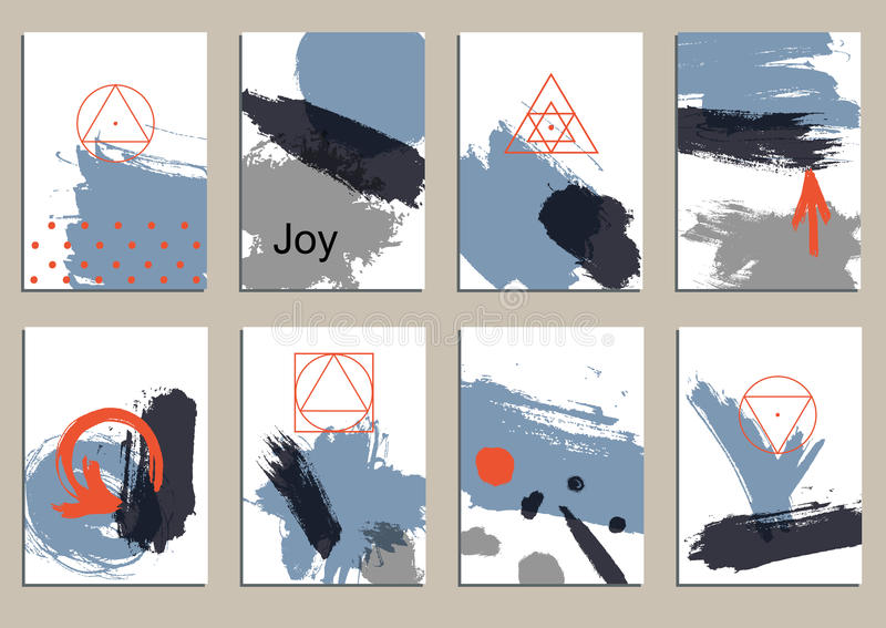 Set of universal cards. Hand Drawn textures. Vector. Isolated. vector illustration