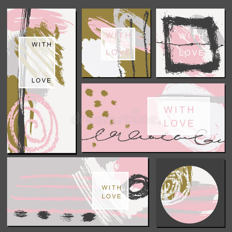 Set of universal cards. Hand Drawn textures. Vector. Isolated. royalty free illustration