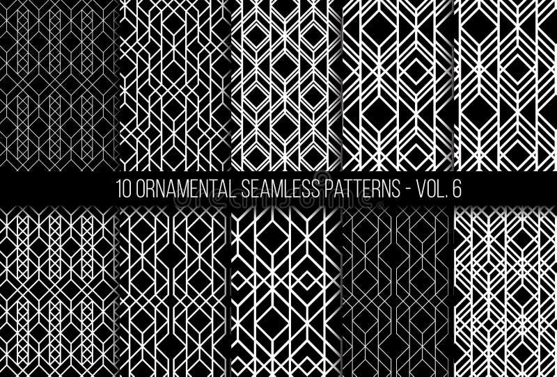 Set of universal different geometric seamless patterns royalty free illustration