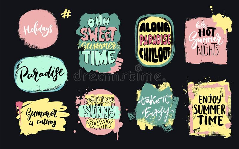 Set of universal hand drawn paint background. Summer quotes. Speech bubble. vector illustration