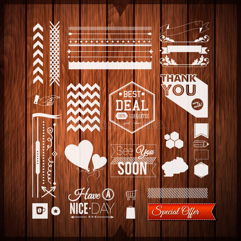 Set of universal icons, borders and elements for Your design. Vector illustration. stock illustration