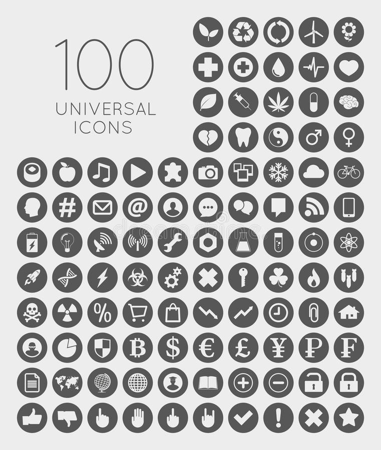 Set of 100 universal icons of business, science, health, security, education, technology, leisure time and food royalty free illustration
