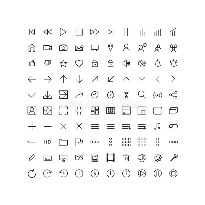 Set universal icons media player, UI, for web and mobile, thin line. royalty free illustration