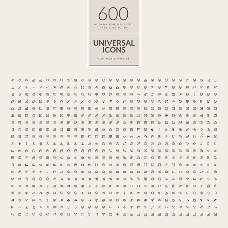 Set of universal icons for web and mobile royalty free illustration