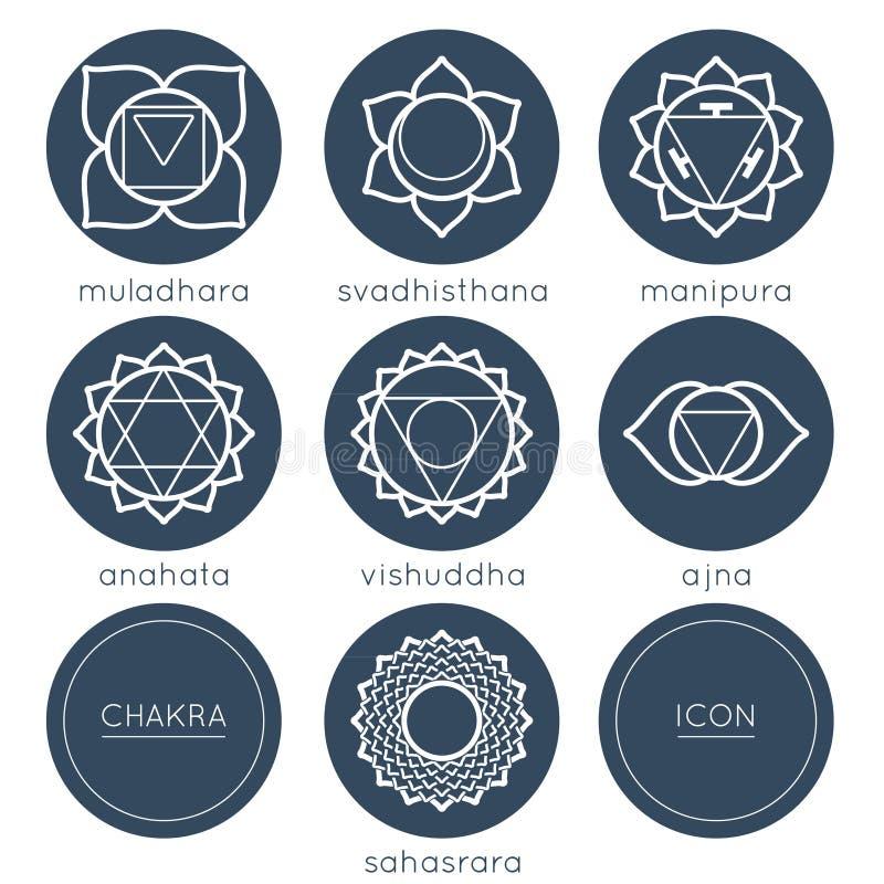 Set of universal plain chakras icons royalty free illustration
