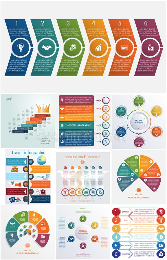 Set 10 universal templates elements Infographics conceptual cyclic processes for 6 positions royalty free illustration