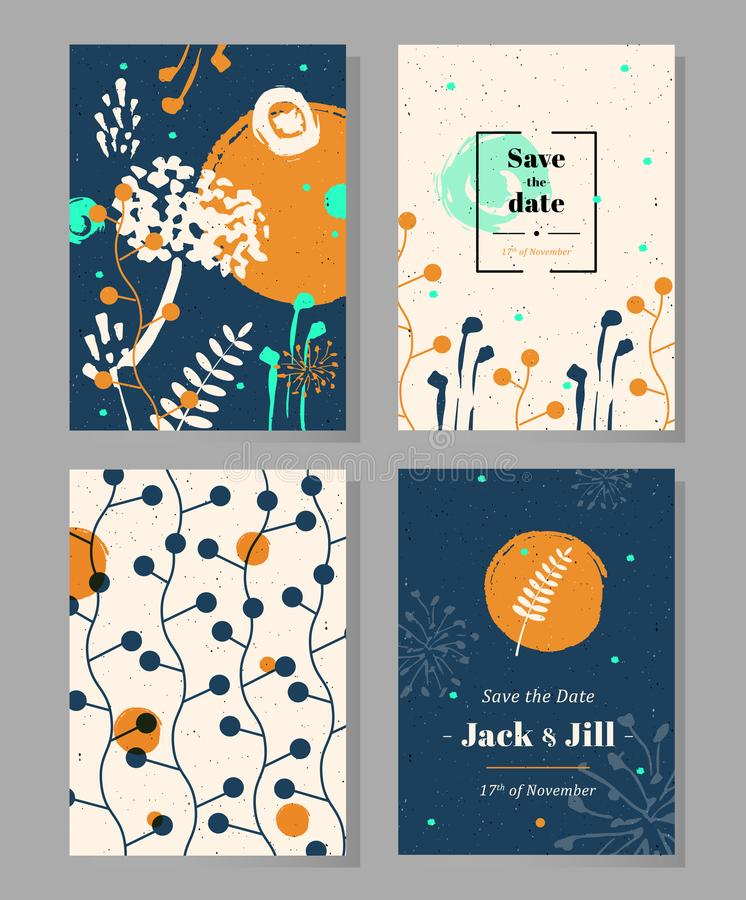 Set of universal templates with hand drawn herbs and flowers. Concept for invitations, flyers, posters, greeting cards, save the date cards, banners vector illustration