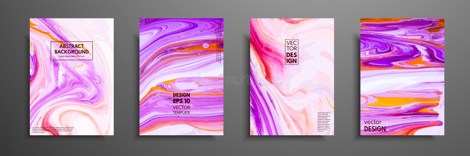 Set of universal vector cards. Liquid marble texture. Colorful design for invitation, placard, brochure, poster, banner vector illustration