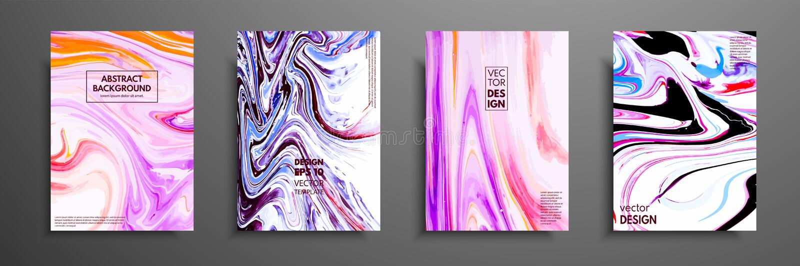 Set of universal vector cards. Liquid marble texture. Colorful design for invitation, placard, brochure, poster, banner royalty free illustration