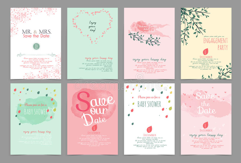 Set of universal vintage hand drawn card and brochure vector il vector illustration