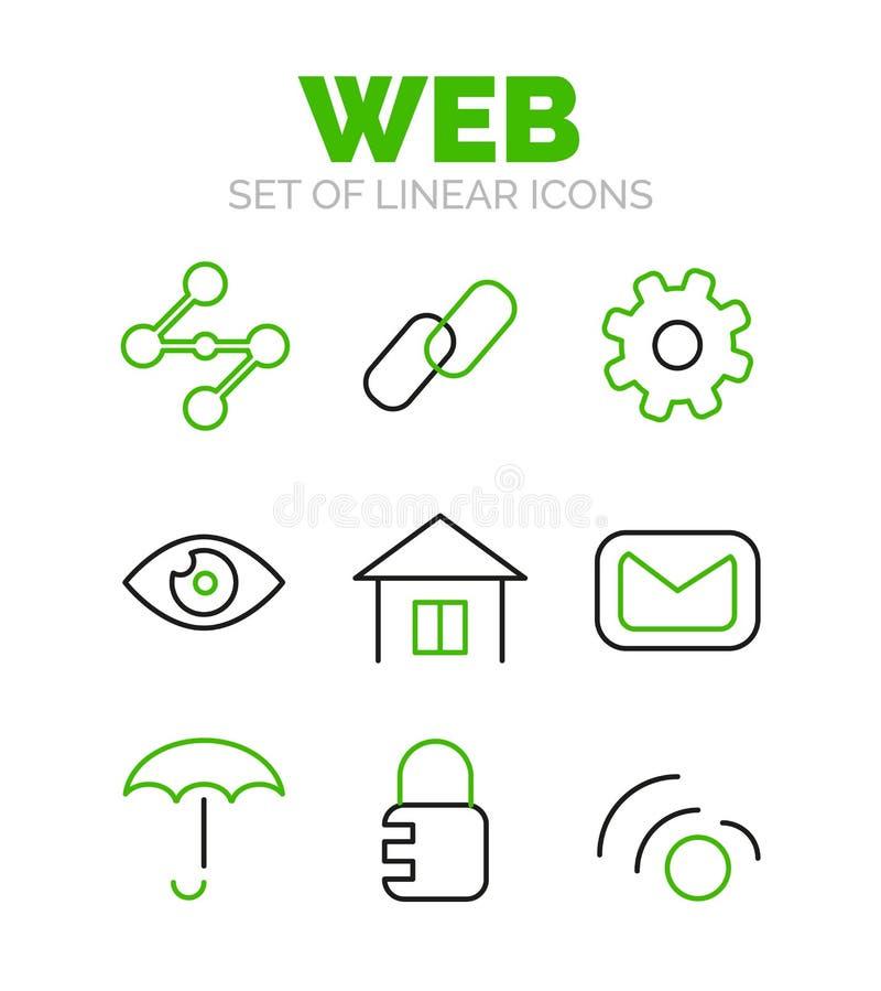 Set of universal web icons, flat minimal linear thin style royalty free illustration