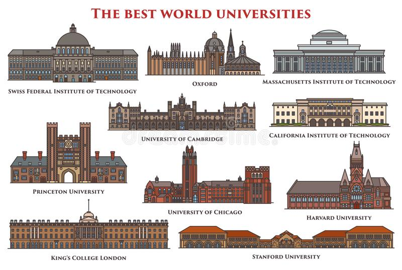 Set of education buildings, university. Set of university and college, institute education buildings or constructions. Swiss federal and California royalty free illustration
