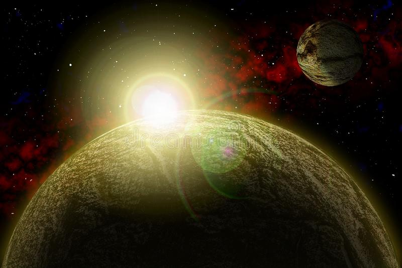 Unknown planet. Color star, sun, moon, stars, space nebula. Basis: author`s phototextures. stock illustration