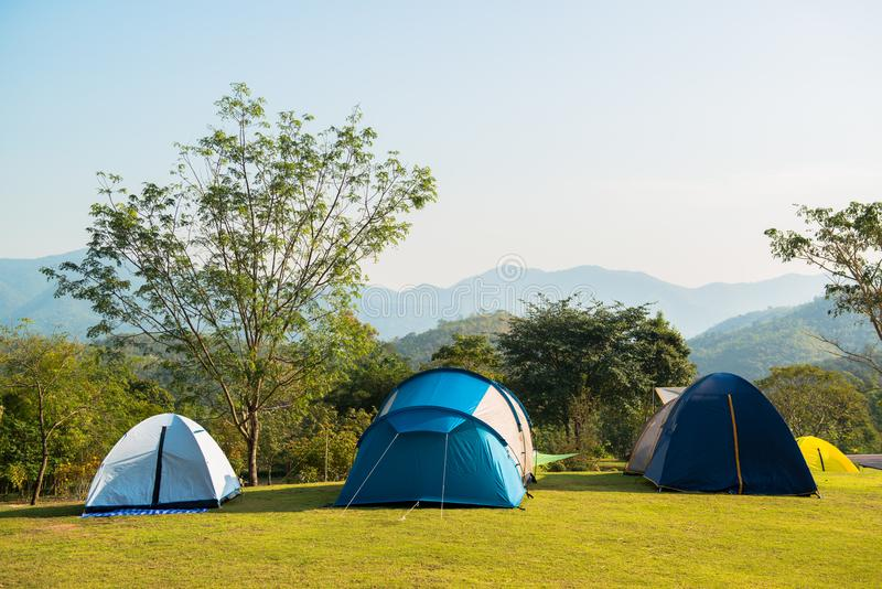 Tent on the grass green. royalty free stock photo