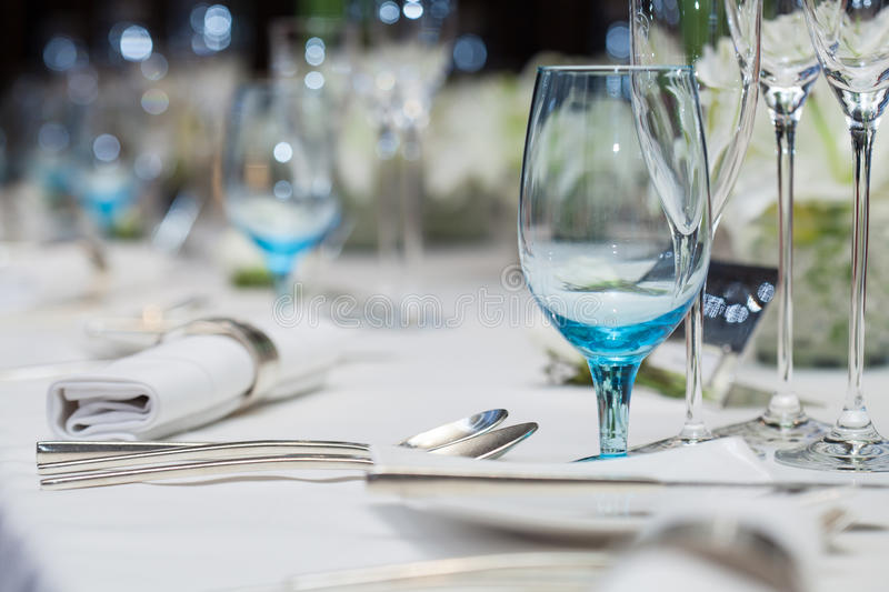 Download Set Up Wine Glass On The Table For Dinner Stock Image - Image of metal & Set Up Wine Glass On The Table For Dinner Stock Image - Image of ...