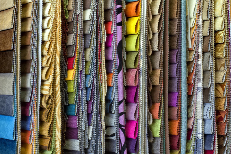 Set of upholstery samples for upholstered furniture. Set of multi-colored upholstery samples for upholstered furniture royalty free stock images