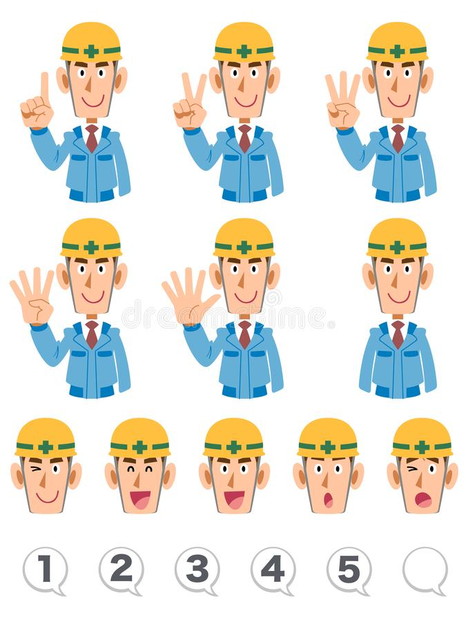 A set of upper body expression and numbers of building workers wearing blue working clothes that counts numbers with fingers. The image of A set of upper body vector illustration