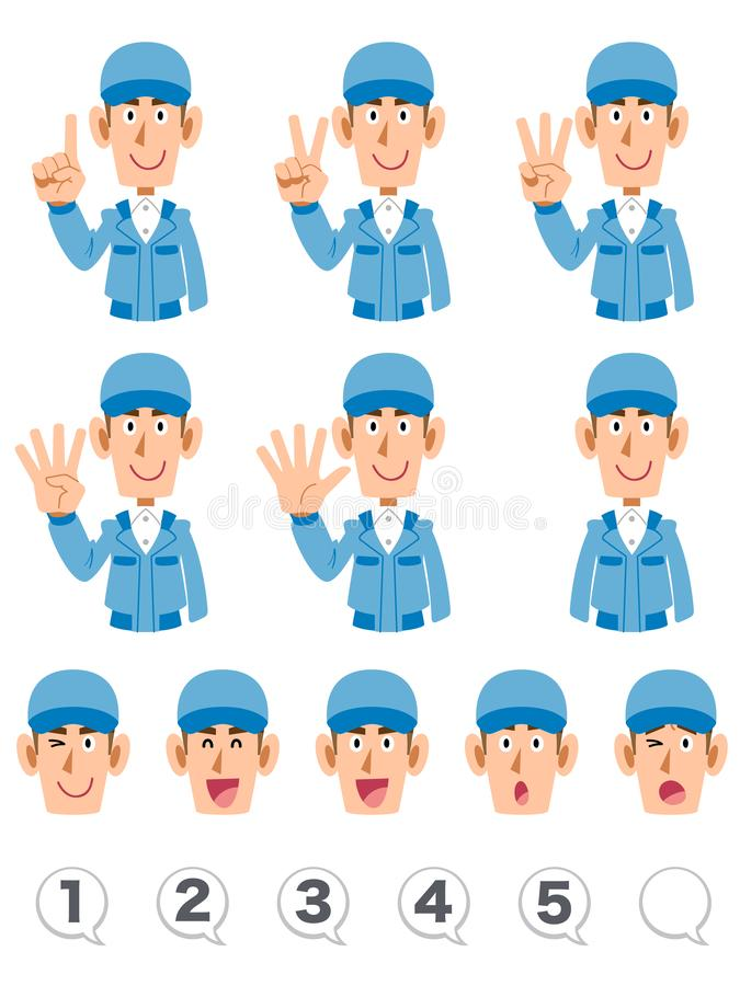 A set of upper body expression and numbers of men wearing blue working clothes that counts numbers with fingers. The image of A set of upper body expression and vector illustration