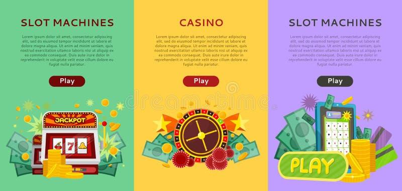 Set Uprawiać hazard Wektorowych sztandary W Płaskim projekcie ilustracja wektor