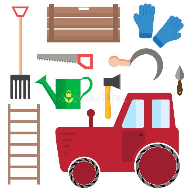 Set uprawiać ziemię zbierać i ogrodowi narzędzia obraz stock