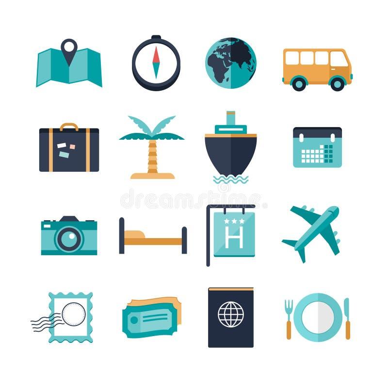 Set urlopowe podróży ikony royalty ilustracja