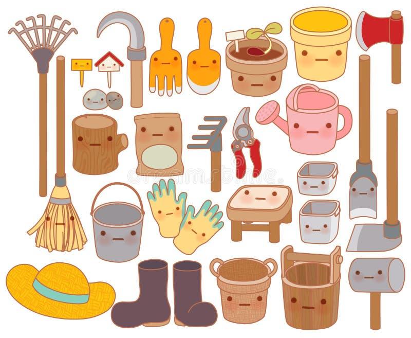 Set urocza ogrodowych narzędzi kreskówka, śliczni gumowi buty, cukierki ilustracji