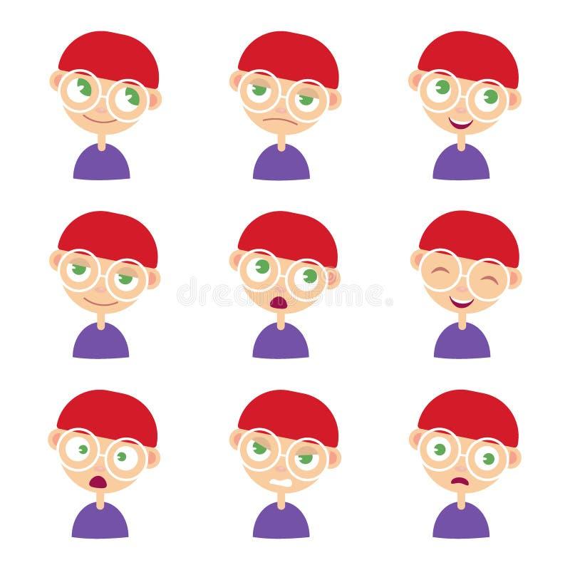 Set Uroczej chłopiec twarzowe emocje ilustracja royalty ilustracja