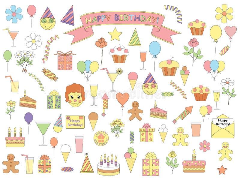 Set urodzinowe ikony royalty ilustracja