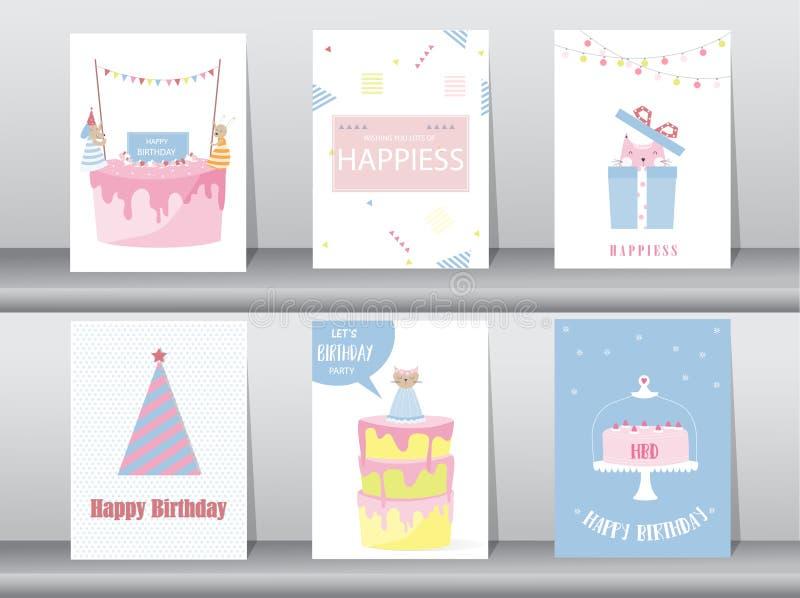 Set urodzinowe zaproszenie karty, plakat, powitanie, szablon, kot, tort, królik, Wektorowe ilustracje royalty ilustracja