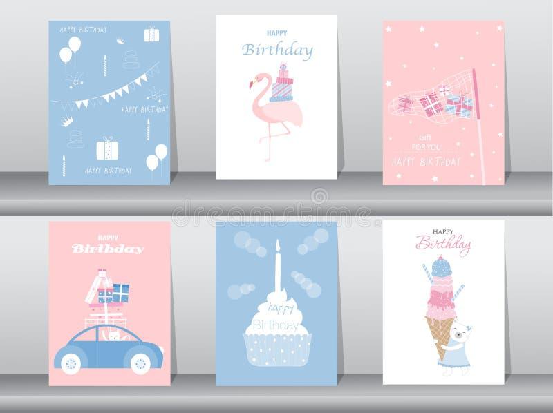 Set urodzinowe zaproszenie karty, plakat, powitanie, szablon, tort, królik, flaming ilustracji