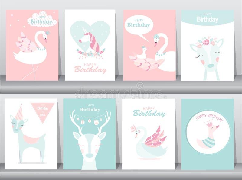 Set urodzinowe zaproszenie karty, plakat, powitanie, szablon, zwierzęta, jednorożec, bocian, kaczka, gąska, Wektorowe ilustracje ilustracja wektor