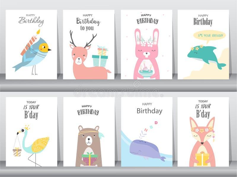 Set urodzinowe zaproszenie karty, plakat, powitanie, szablon, zwierzęta, królik, tort, bocian, gąska, wieloryb, ptaki, rogacz, We ilustracja wektor