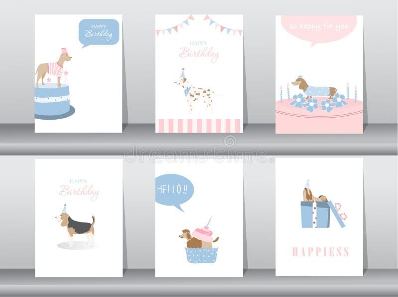 Set urodzinowe zaproszenie karty, plakat, powitanie, szablon, zwierzęta, psy, Wektorowe ilustracje royalty ilustracja
