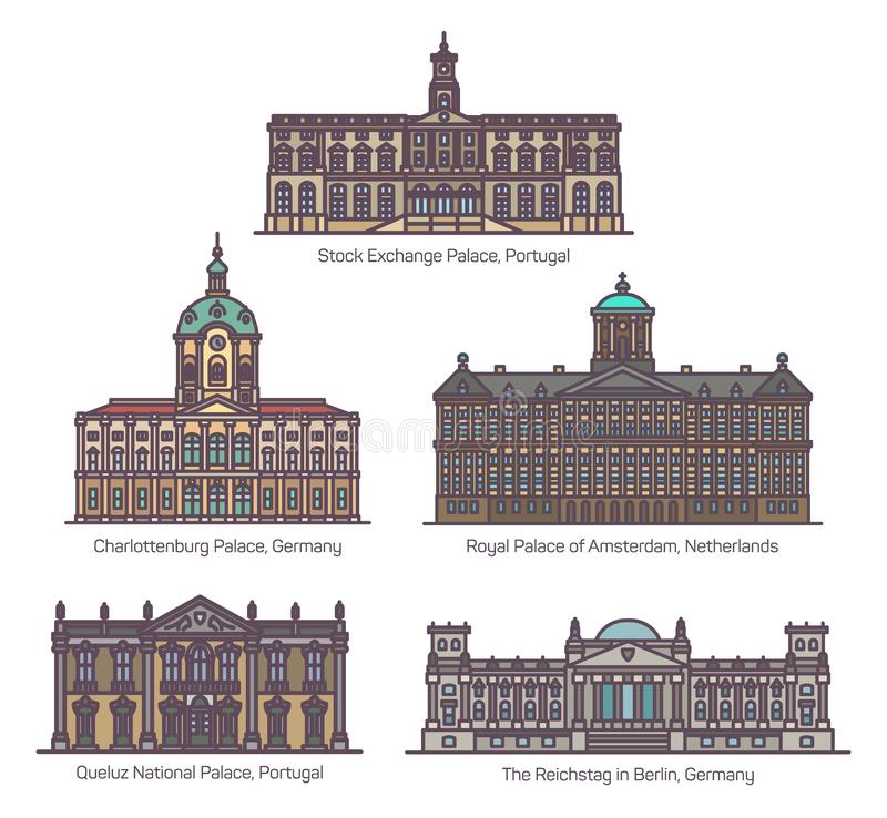 Set of uropean famous palace buildings in line. European historical palace buildings. Stock Exchange or Schloss Charlottenburg, Royal building of Amsterdam stock illustration