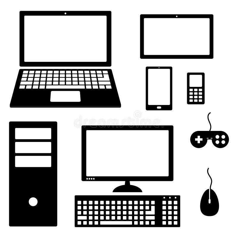 Set urządzenie elektroniczne ikony odizolowywać na białym tle ilustracji