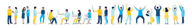 Set urz?dnicy i lider zespo?u M?odzi samiec i kobiety tana ludzie odizolowywaj?cy na bia?ym tle ilustracja wektor