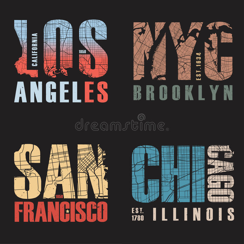 Set of us cities t-shirt designs. Vector illustration. royalty free stock images